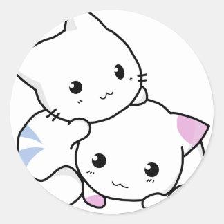 Cute White Kitties Round Sticker