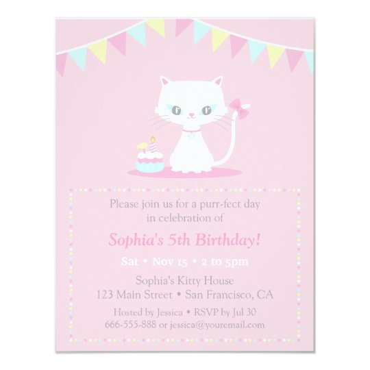 Cute White Kitty Cat Birthday Party Invitations