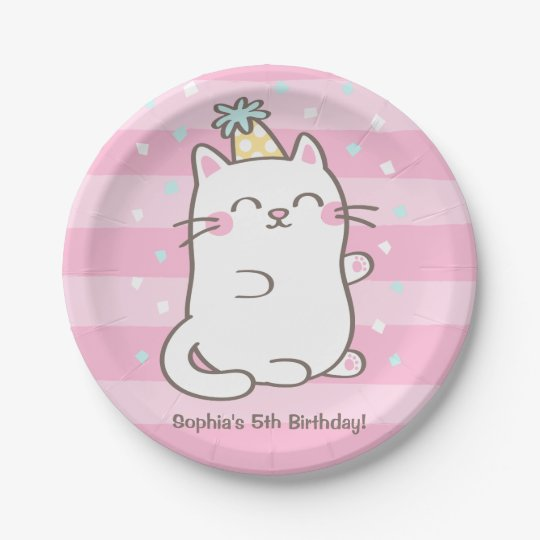 Cute White Kitty Cat Girls Birthday Party Supplies