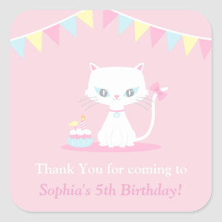 Cute White Kitty Cat Thank You Party Stickers