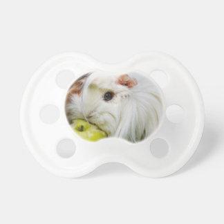 Cute White Long Hair Guinea Pig Eating Apple Baby Pacifiers