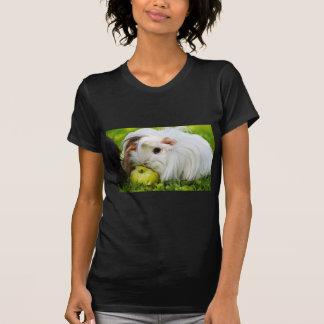Cute White Long Hair Guinea Pig Eating Apple T-Shirt