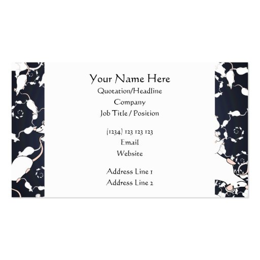 Cute White Mice. In Deep Space. Custom Business Cards