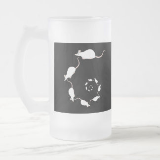 Cute White Mouse Design. Spiral of Mice. Frosted Glass Beer Mug