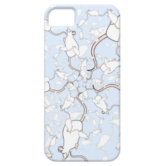 Cute White Mouse Pattern. Mice on Blue. iPhone 5 Case