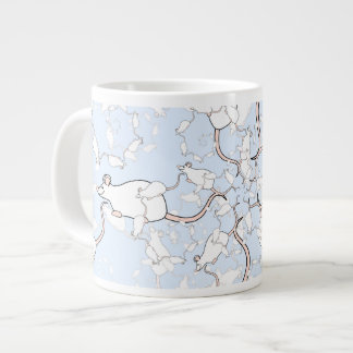 Cute White Mouse Pattern. Mice on Blue. Large Coffee Mug