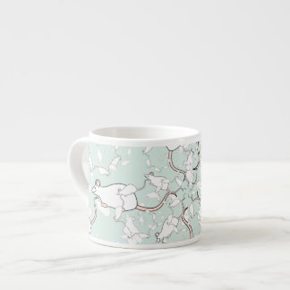 Cute White Mouse Pattern. Mice, on Green. Espresso Cup