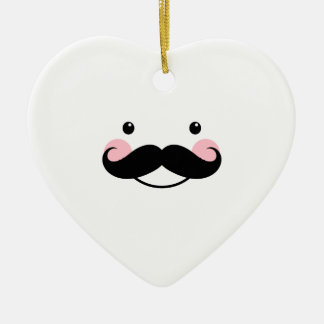 Cute White Mustache Smiling Face Heart Ornament