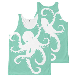 Cute White Octopus Illustration On Mint All-Over Print Tank Top