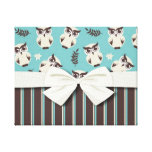 cute white owl pattern and stripes canvas prints