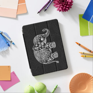 Cute white paisley elephant over black background iPad air cover