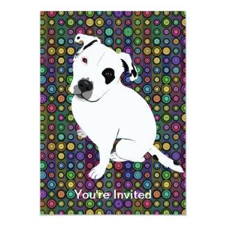 Cute White Pitbull Puppy on Circle Pattern 13 Cm X 18 Cm Invitation Card