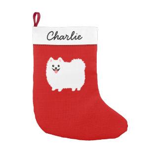 Cute White Pomeranian Cartoon Dog with Custom Text Small Christmas Stocking