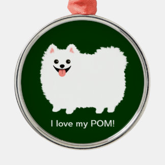 Cute White Pomeranian with Custom Text Christmas Ornament