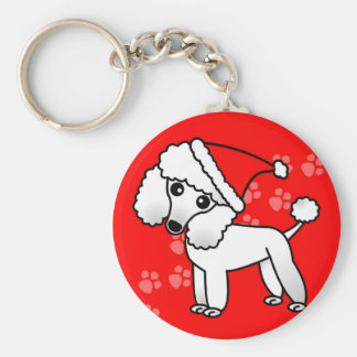 Cute White Poodle Cartoon Santa Hat Key Ring