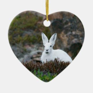 Cute White Rabbit Ceramic Heart Decoration