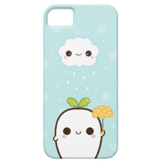 Cute white radish with kawaii cloud iPhone 5 cases