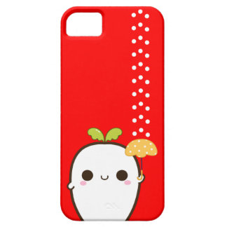 Cute white radish with kawaii umbrella iPhone 5 cases