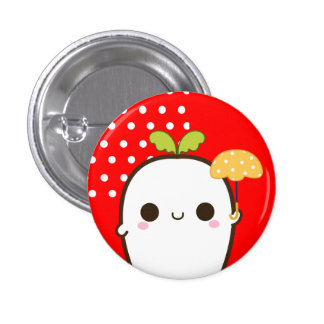 Cute white radish with kawaii umbrella on red 3 cm round badge