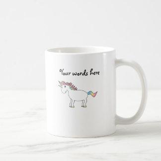 Cute white rainbow unicorn basic white mug