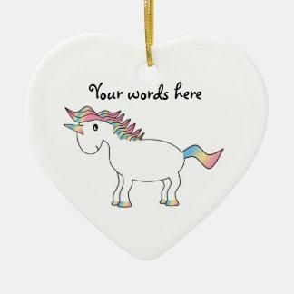 Cute white rainbow unicorn christmas ornament