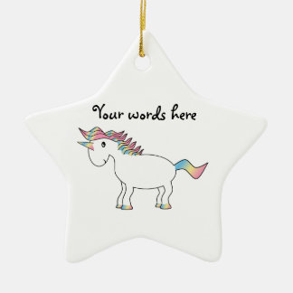 Cute white rainbow unicorn christmas ornament