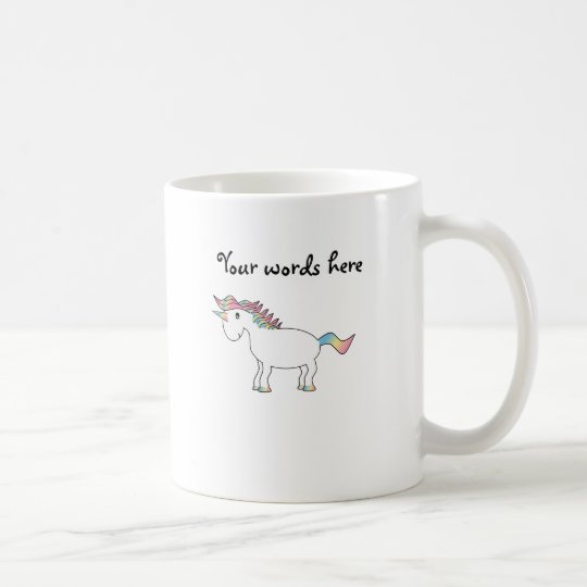 Cute white rainbow unicorn coffee mug