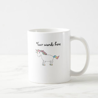 Cute white rainbow unicorn coffee mugs