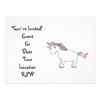 Cute white rainbow unicorn personalized announcement