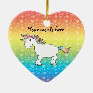 Cute white rainbow unicorn on rainbow hearts christmas ornament