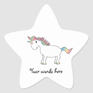 Cute white rainbow unicorn sticker star sticker