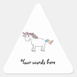 Cute white rainbow unicorn triangle sticker