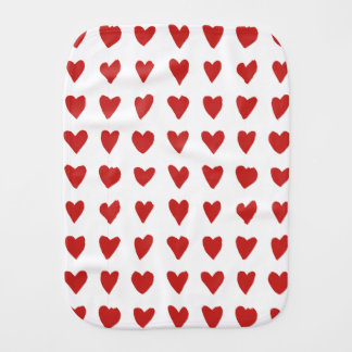 Cute white red hearts patterns burp cloth