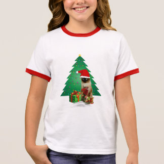 Cute White / Red Santa Cat Christmas Girls T-Shirt