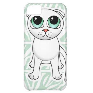 Cute White Scottish Fold Cat Cartoon iPhone 5C Case