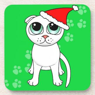 Cute White Scottish Fold Cat Cartoon Santa Hat Beverage Coasters