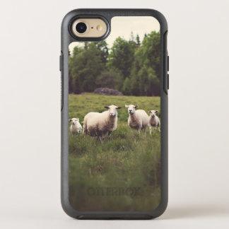 Cute White Sheep & Babies Field Trees Rocks OtterBox Symmetry iPhone 8/7 Case