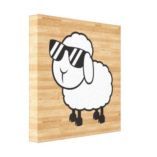 Cute White Sheep Cartoon Gallery Wrap Canvas