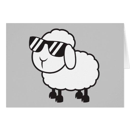 Cute White Sheep Cartoon Greeting Cards