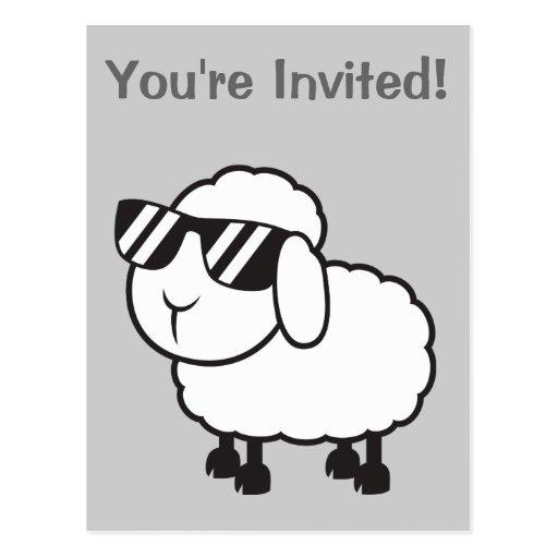 Cute White Sheep Cartoon Postcards