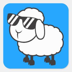 Cute White Sheep Cartoon Square Sticker