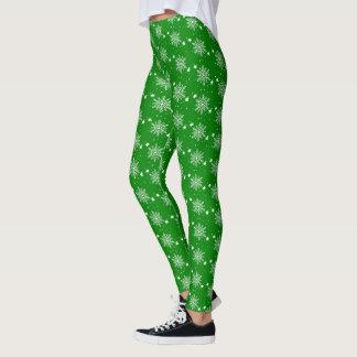 Cute white snowflakes on GREEN Christmas Leggings