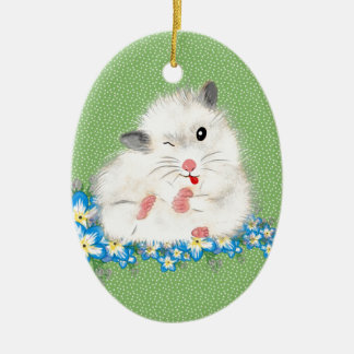 Cute white Syrian hamster accessories, green polka Christmas Ornament