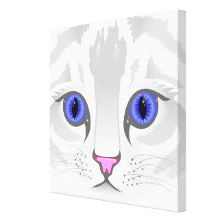 Cute white tabby cat face close up illustration canvas print