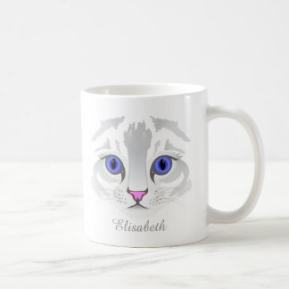 Cute white tabby cat face close up illustration coffee mug