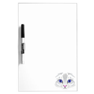 Cute white tabby cat face close up illustration dry erase board
