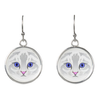 Cute white tabby cat face close up illustration earrings
