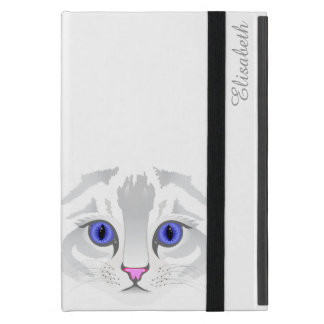 Cute white tabby cat face close up illustration iPad mini cover