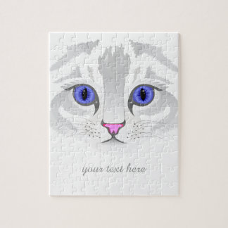 Cute white tabby cat face close up illustration jigsaw puzzle