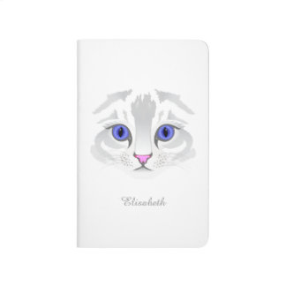 Cute white tabby cat face close up illustration journal